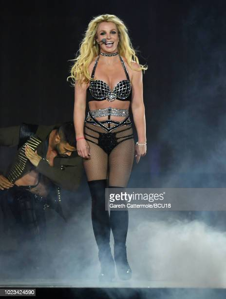 Britney Spears on stage during the Piece Of Me Summer Tour at the O2 Arena on August 24 2018 in London England