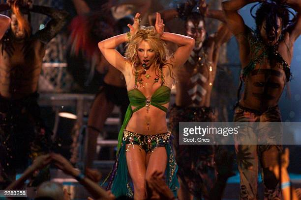Britney Spears onstage performing at the 2001 MTV Video Music Awards held at the Metropolitan Opera House at Lincoln Center in New York City on...