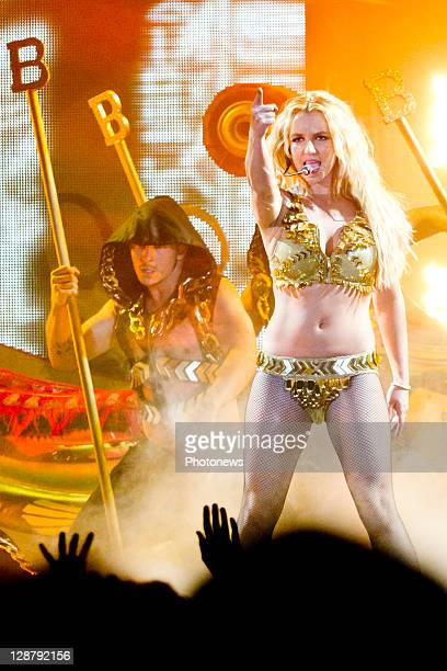 Britney Spears performing during the Femme Fatale tour at the SportPaleis on October 8 2011 in Antwerp Belgium
