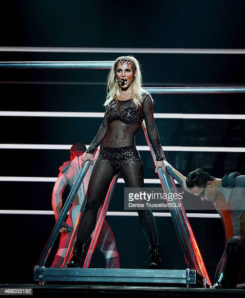 Britney Spears performs at her 'Britney Piece Of Me' show at Planet Hollywood Casino Resort on March 4 2015 in Las Vegas Nevada