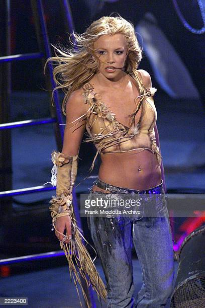 Britney Spears performs at the 28th Annual American Music Awards at the Shrine Auditorium in Los Angeles CA on Monday January 8 2001 broadcast live...