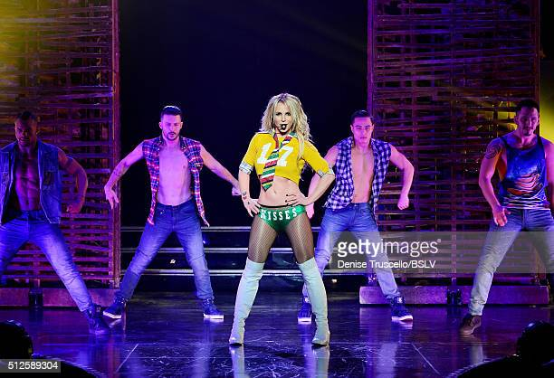 Britney Spears performs Britney Spears Piece of Me Remixed Reimagined Still iconic At Planet Hollywood Resort Casino on February 26 2016 in Las Vegas...