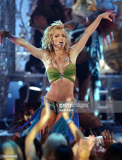 Britney Spears performs during 2001 MTV Video Music Awards Show at The Metropolitan Opera House at Lincoln Center in New York City New York United...