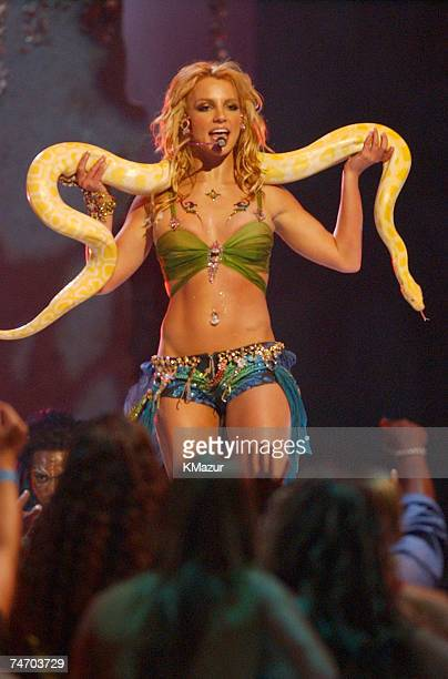 Britney Spears performs during 2001 MTV Video Music Awards Show at the The Metropolitan Opera House at Lincoln Center in New York City New York