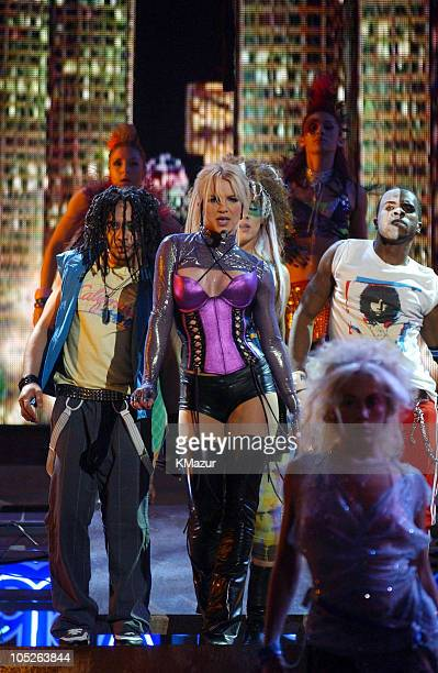 Britney Spears performs Me Against The Music during 31st Annual American Music Awards Show at The Shrine Theater in Los Angeles California United...