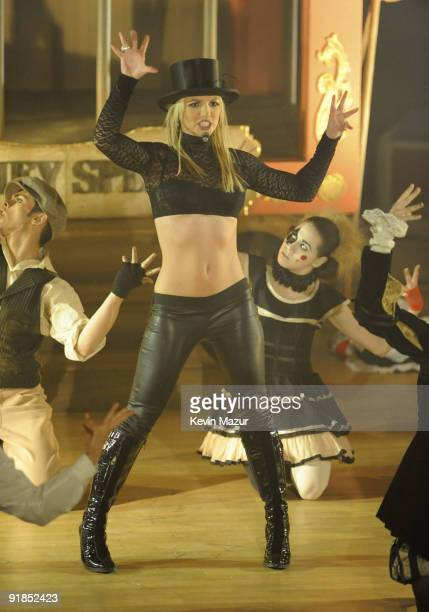 Britney Spears performs on ABC's 'Good Morning America' at The Big Apple Circus Tent at Lincoln Center on December 2 2008 in New York City