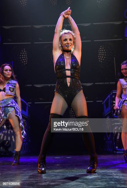 Britney Spears performs on stage during her Piece of Me Summer Tour Opener at The Theater at MGM National Harbor on July 12 2018 in National Harbor...