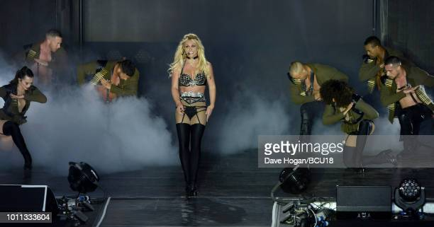 Britney Spears performs on stage during the Britney Spears Piece Of Me Summer Tour Brighton Pride at Preston Park on August 4 2018 in Brighton England