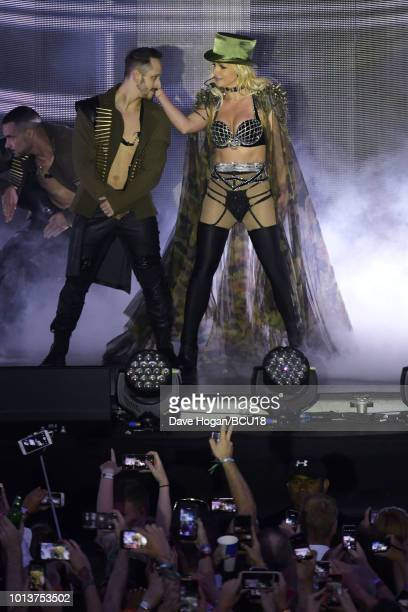 Britney Spears performs on stage during the Britney Spears 'Piece Of Me' Summer Tour Brighton Pride at Preston Park on August 4 2018 in Brighton...