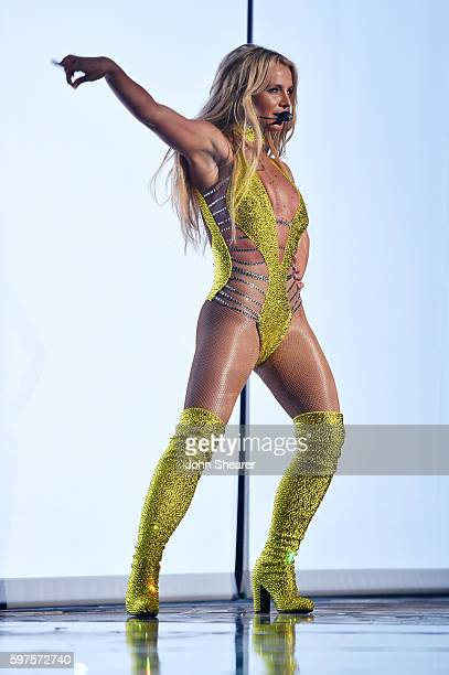 Britney Spears performs onstage during the 2016 MTV Music Video Awards at Madison Square Gareden on August 28 2016 in New York City