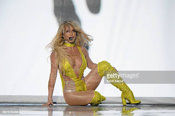 Britney Spears performs onstage during the 2016 MTV Music Video Awards at Madison Square Garden on August 28 2016 in New York City