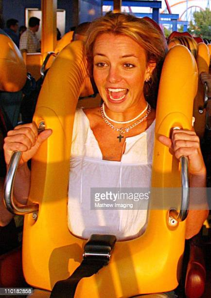 Britney Spears riding Six Flags Magic Mountains newest ride 'Scream' *Exclusive Call for Pricing*