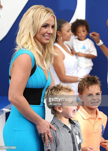 Britney Spears Sean Preston Federline and Jayden James Federline attend the 'Smurfs 2' Los Angeles premiere held at Regency Village Theatre on July...