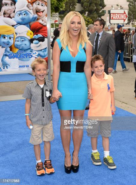 Britney Spears sons Sean Federline and Jayden James Federline attend the premiere of Columbia Pictures' Smurfs 2 at Regency Village Theatre on July...