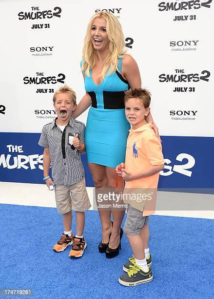 Britney Spears sons Sean Federline and Jayden James Federline attend the premiere of Columbia Pictures' Smurfs 2 at Regency Village Theatre on July...