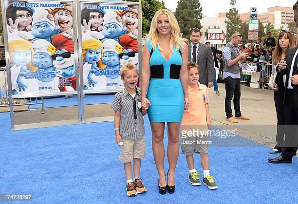 "Britney Spears , sons Sean Federline, and Jayden James Federline attend the premiere of Columbia Pictures' ""Smurfs 2"" at Regency Village Theatre on..."