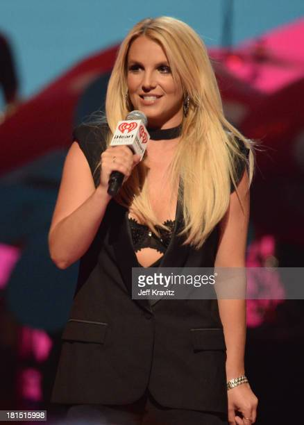 Britney Spears speaks onstage during the iHeartRadio Music Festival at the MGM Grand Garden Arena on September 21 2013 in Las Vegas Nevada