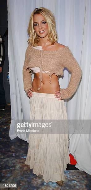 Britney Spears stands backstage at the first MTV TRL Awards at the MTV Times Square Studios February 6 2003 in New York City Britney cohosted the...
