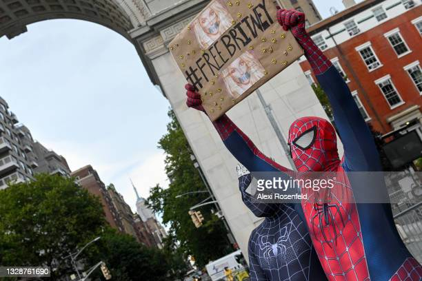 Britney Spears supporters dressed in Marvel's Spiderman costumes gather to protest at the #FreeBritney Rally in Washington Square Park on July 14,...