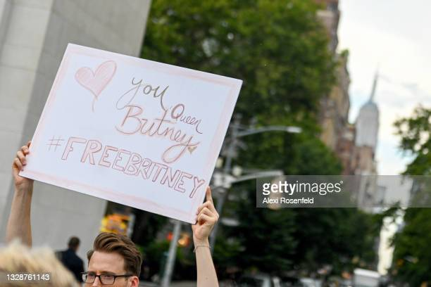 Britney Spears supporters gather to protest at the #FreeBritney Rally in Washington Square Park on July 14, 2021 in New York City. Supporters chanted...