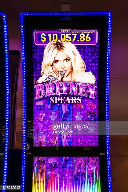 Britney Spears video slot machine at Caesars Palace Hotel Casino is viewed on July 13 2017 in Las Vegas Nevada Despite record temperatures tens of...