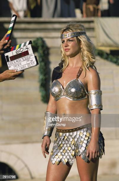 Britney Spears waits for direction during the making of the Pepsi music commercial 'Pepsi Gladiators' in Rome on September 22 2003 in Italy