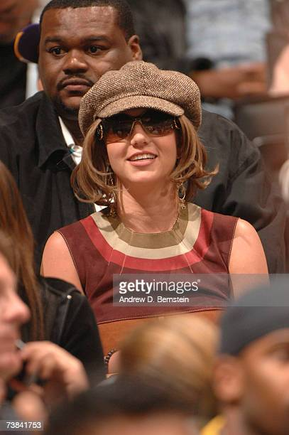 Britney Spears watches as the Los Angeles Lakers play against the Phoenix Suns on April 8 2007 at Staples Center in Los Angeles California NOTE TO...