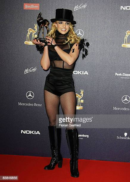 Britney Spears winner in the category pop international poses with the trophy at the Bambi Awards 2008 on November 27 2008 in Offenburg Germany