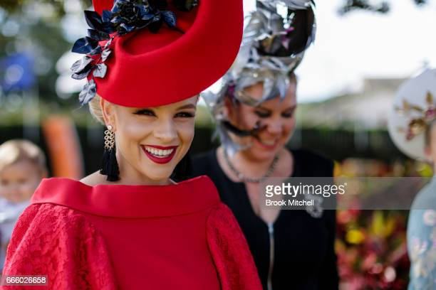 Britney Tamou arrives for the The Championships Day 2 Queen Elizabeth Stakes Day at Royal Randwick Racecourse on April 8 2017 in Sydney Australia