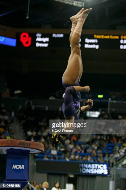 Britney Taylor of LSU competes in the vault during the Division I Women's Gymnastics Championship held at Pauley Pavilion on the UCLA campus in Los...