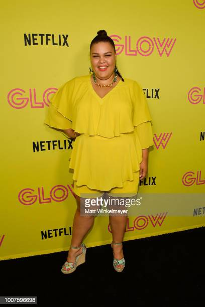 Britney Young attend Netflix's Glow celebrates its 10 Emmy Nominations with RollerSkating event at World on Wheels on July 29 2018 in Los Angeles...