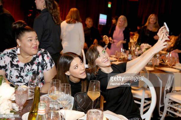 Britney Young Jackie Tohn and Alison Brie attend the Rebels and Rule Breakers Panel at Netflix FYSEE at Raleigh Studios on May 12 2018 in Los Angeles...