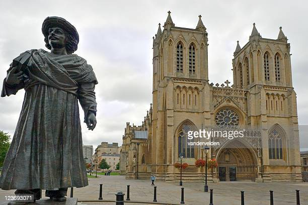 britol's medieval cathedral and ram mohan roy's statue - cathedral stock pictures, royalty-free photos & images