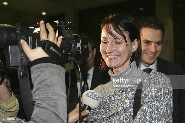 Briton Maria Golby 41, from Warwickshire, is interviewed by the press after being released on bail, December 19, 2006 in Athens, Greece. Golby, who...