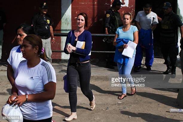 Briton Melissa Reid nexto to Irishwoman Michaella McCollum 20 leave the Sarita Colonia courtroom after being sentenced to six years and eight months...