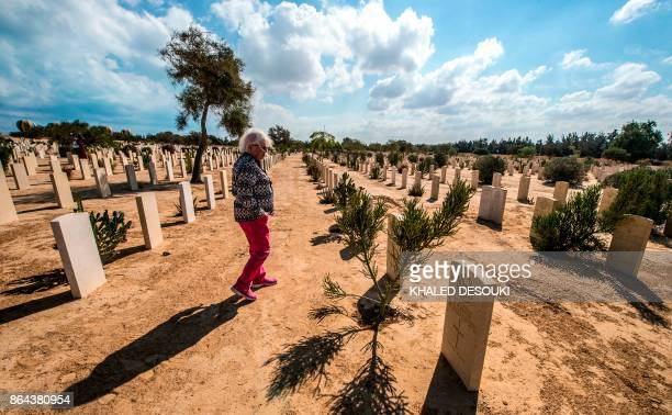 Briton Penny Carter visits the Allied graves at El Alamein War Cemetary during a ceremony marking 75 years since the pivotal WWII battle in the...