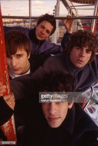 Britpop band Shed Seven group portrait Blackpool United Kingdom 1994 Clockwise from left Thomas Gladwin Alan Leach Paul Banks Rick Witter
