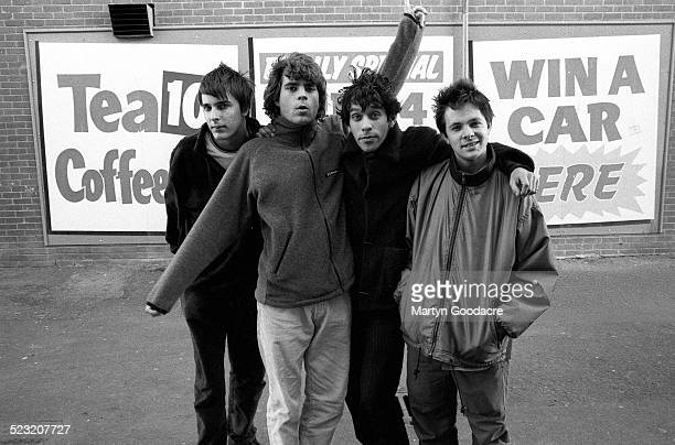 Britpop band Shed Seven group portrait Blackpool United Kingdom 1994 LR Thomas Gladwin Paul Banks Rick Witter Alan Leach