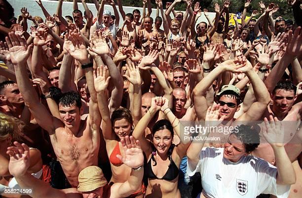 Brits abroad young English people at a pool party Club 1830 Ibiza 2001