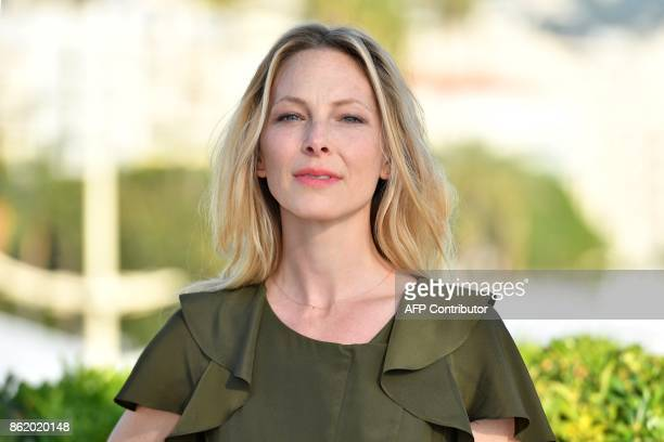 Britsh actress Anastasia Griffith cast from the thriller tv series 'Deep state' poses for a photograph during the MIPCOM trade show in Cannes...