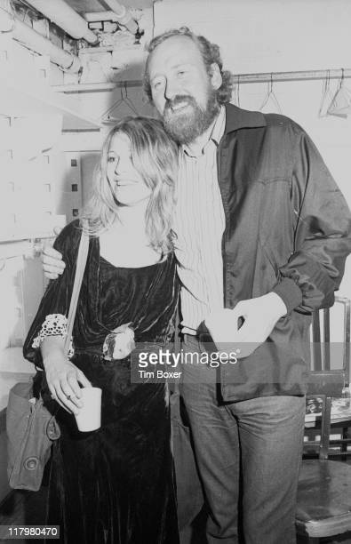 Britsh actress Julie Christie poses with British actor Nicol Williamson in the latter's dressing room at the Eastside Playhouse where he was...
