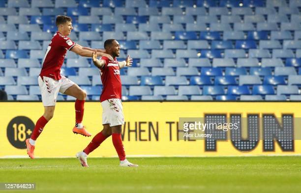 Britt Assombalonga of Middlesbrough celebrates after scoring a goal during the Sky Bet Championship match between Sheffield Wednesday and...