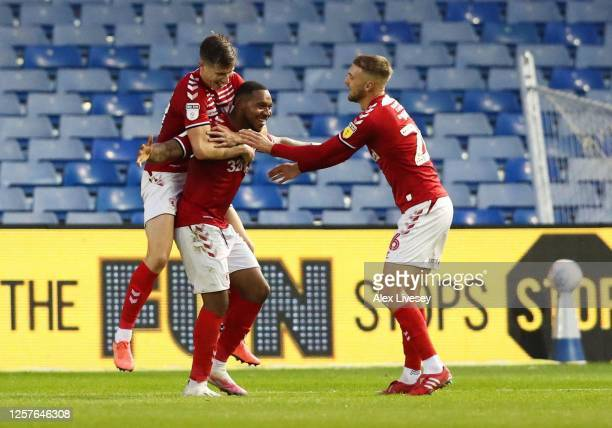 Britt Assombalonga of Middlesbrough celebrates after scoring their second goal during the Sky Bet Championship match between Sheffield Wednesday and...