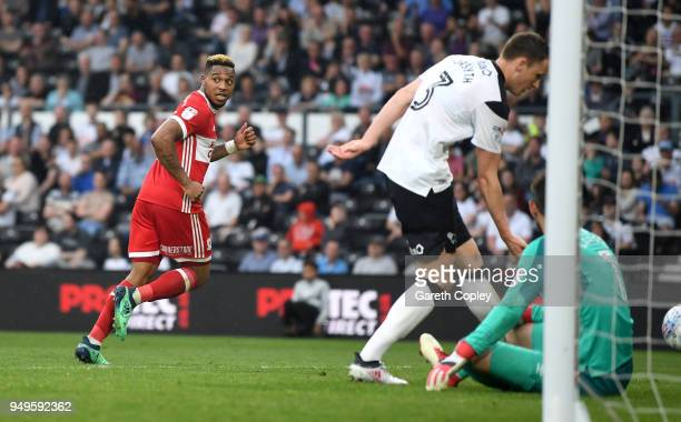 Britt Assombalonga of Middlesbrough celebrates scoring his team's 2nd goal during the Sky Bet Championship match between Derby and Middlesbrough at...