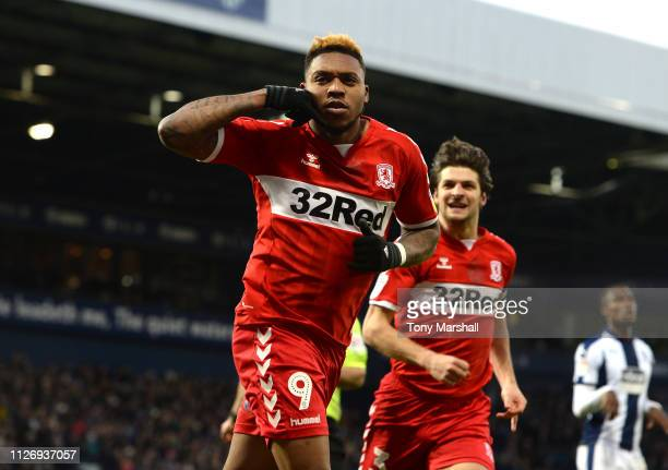 Britt Assombalonga of Middlesbrough celebrates scoring their second goal during the Sky Bet Championship match between West Bromwich Albion and...
