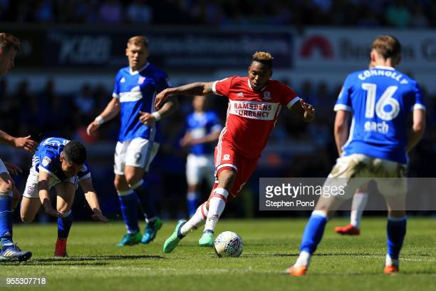 Britt Assombalonga of Middlesbrough competes for the ball with Tristan Nydam of Ipswich Town during the Sky Bet Championship match between Ipswich...