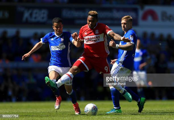 Britt Assombalonga of Middlesbrough competes for the ball with Tristan Nydam and Martin Waghorn of Ipswich Town during the Sky Bet Championship match...