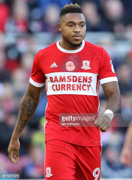 Britt Assombalonga of Middlesbrough during the Sky Bet Championship match between Middlesbrough and Sunderland at Riverside Stadium on November 5...