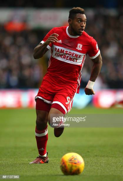 Britt Assombalonga of Middlesbrough during the Sky Bet Championship match between Leeds United and Middlesbrough at Elland Road on November 19 2017...
