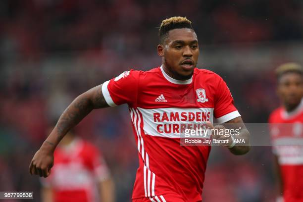 Britt Assombalonga of Middlesbrough during the Sky Bet Championship Play Off Semi Final First Leg match between Middlesbrough and Aston Villa at...